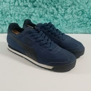 PUMA ROMA Dark Blue Leather Sneakers Size 11.5